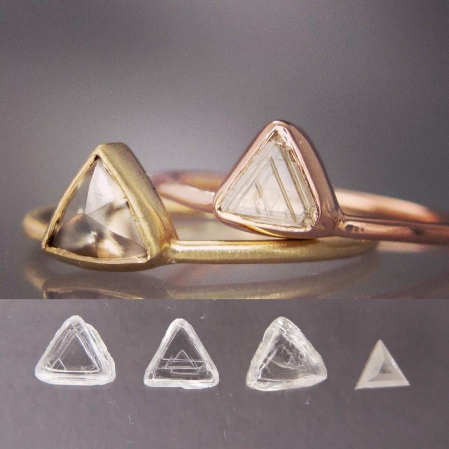 Wedding - Custom Triangle Diamond Gold Engagement Ring, Choose your own Raw Macle Diamond
