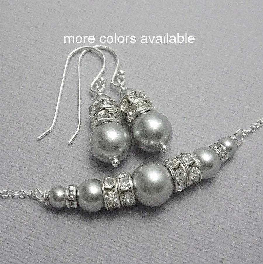 Bridesmaid Jewelry Set Swarovski Light Grey Pearl Necklace And Earring Gift