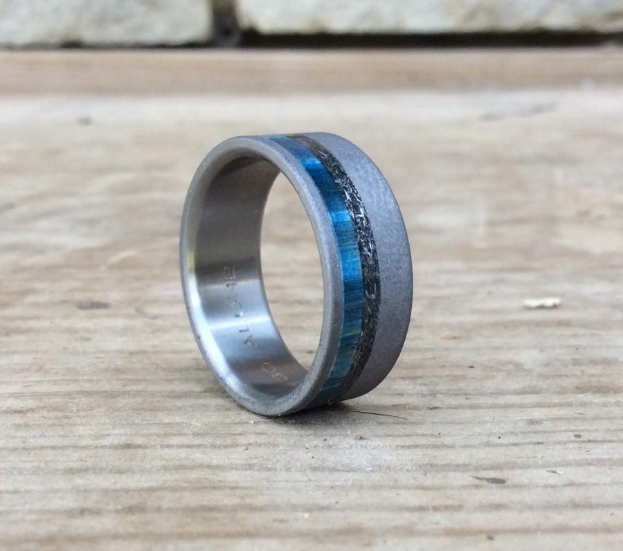 Свадьба - Wedding Ring - Titanium Ring - Blue Box Elder and Meteorite Ring - Handmade Ring - Wedding Ring - Wood Ring - Meteorite Ring
