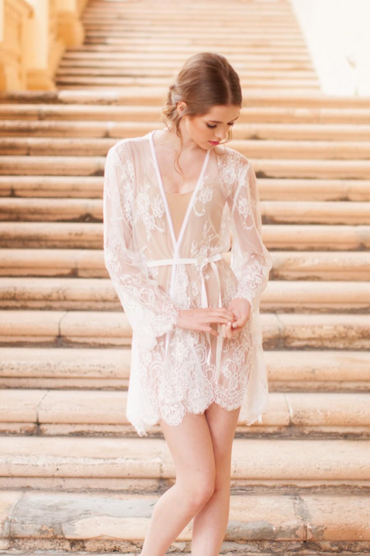 Hochzeit - Pour le Boudoir Lace Robe in off-white