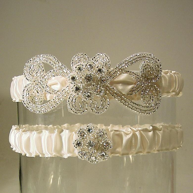 Mariage - wedding garters Empress set white  silver and white wedding