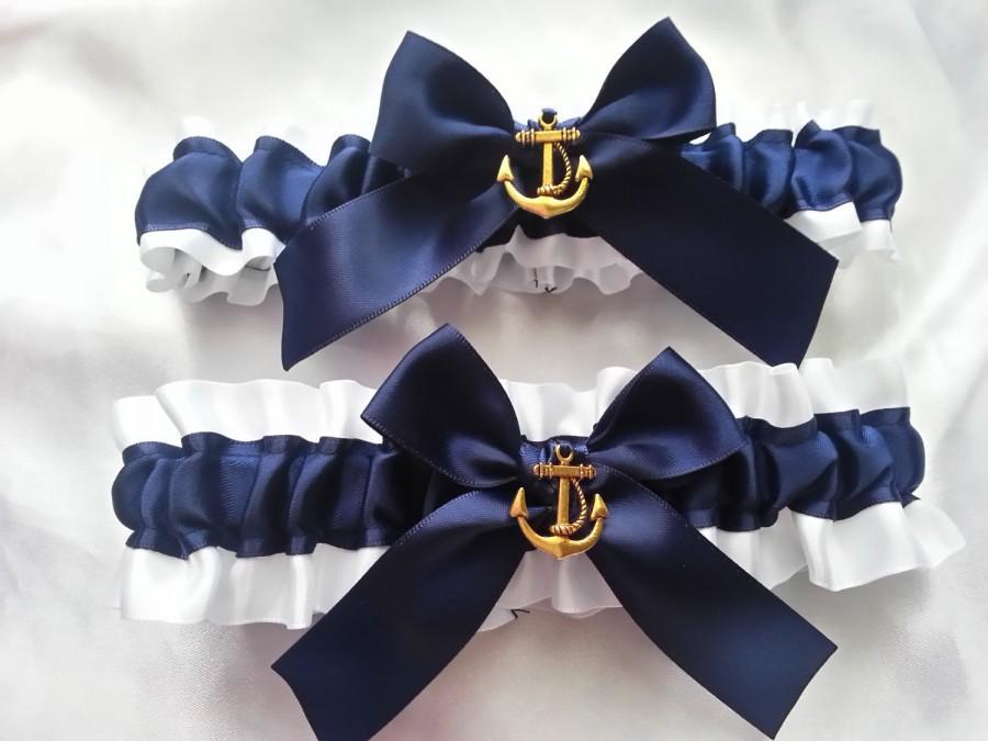 Nautical Wedding Garter SET Beautiful Navy And White Or Ivory