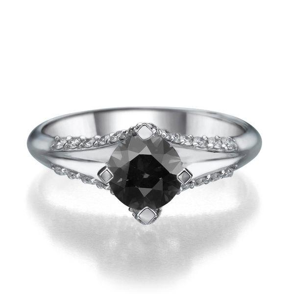 Свадьба - Black Diamond Ring, Split Shank Ring, 14K White Gold Ring, 1.06 TCW Black Diamond Engagement Ring, Gold Rings for Women