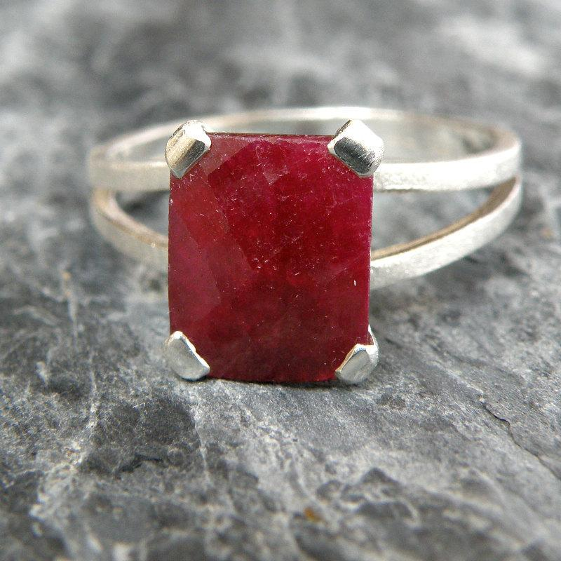 Mariage - Ruby Engagement Ring , Opaque Ruby Ring Sterling Silver Ring , Emerald Cut Ring , Genuine Ruby Jewelry , Red Gemstone Ring - MADE TO ORDER