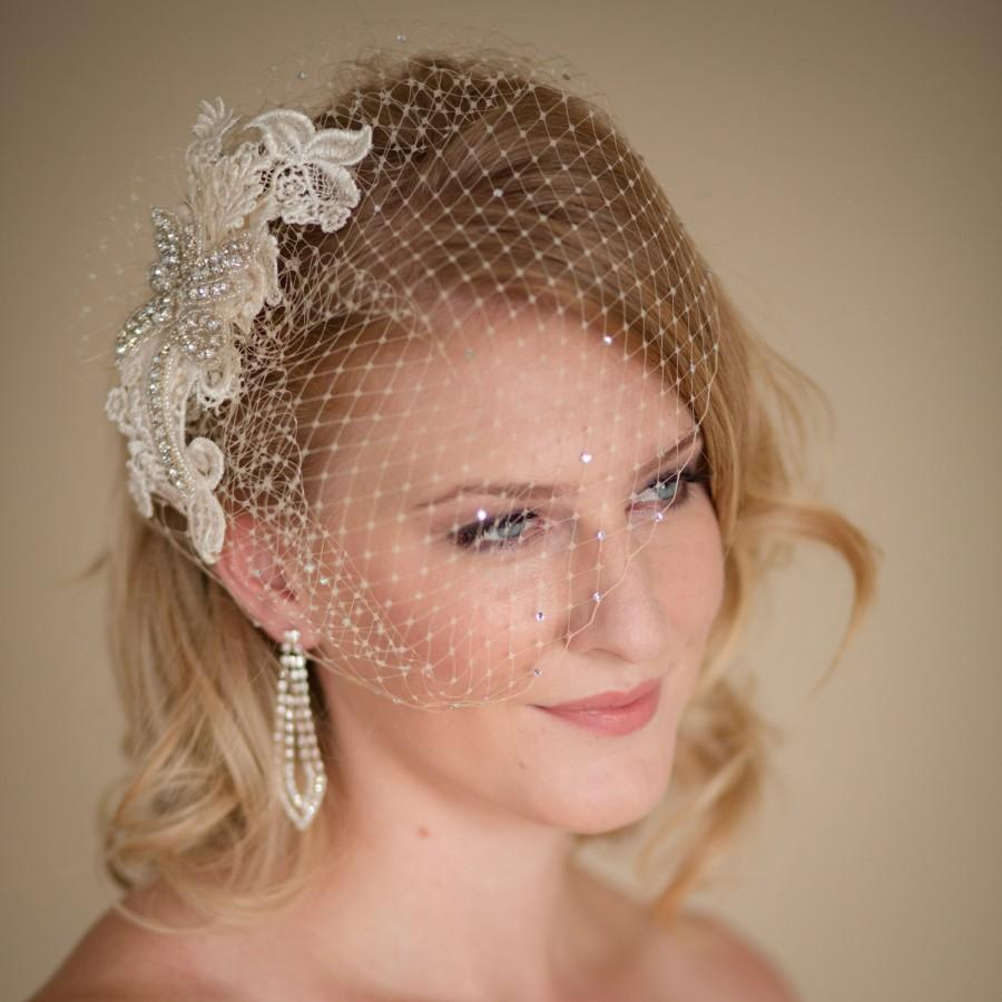 Mariage - Champagne Birdcage Veil with Lace and Rhinestone Fascinator Made to Order