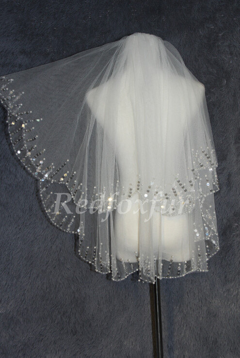 Mariage - 2T sequined veil veil - bridal veil elbow - sparkling wedding veil - sequins + comb -bridal accessory-wedding veil