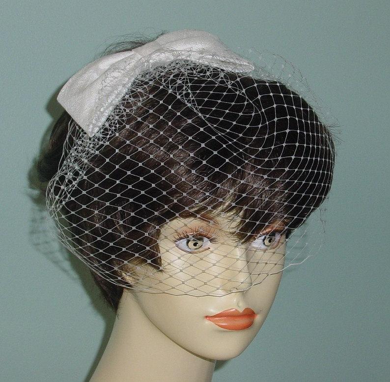 Mariage - Wedding Birdcage Veil with Silk Bow Headband Fascinator Headpiece Made to Order in Champagne, Diamond White, Ivory, Black