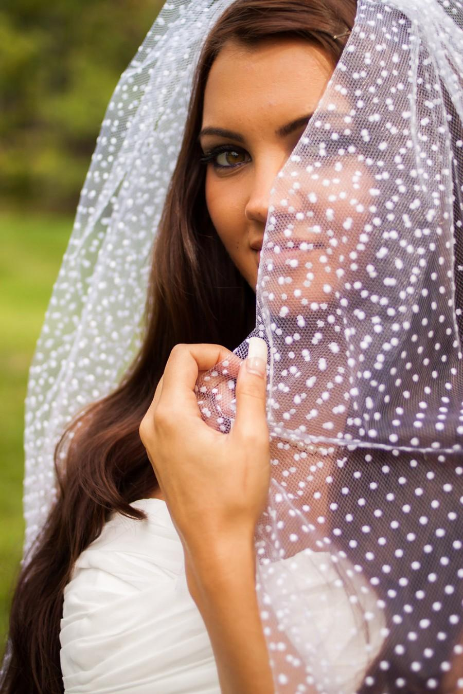 Mariage - Eliza - White Polka Dot Wedding Veil