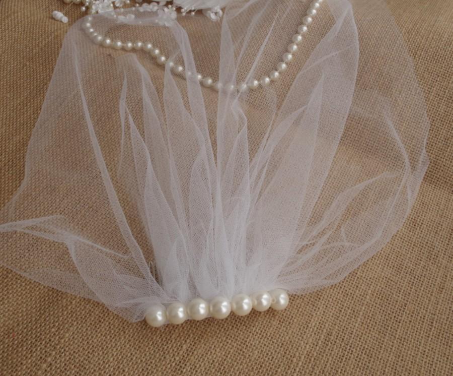 Свадьба - Ivory Tulle Birdcage Veil Vintage Style Petite Veil Mini Illusion Tulle Veil Pearls Birdcage Veil Vintage Style Veil Mini Blusher Sale