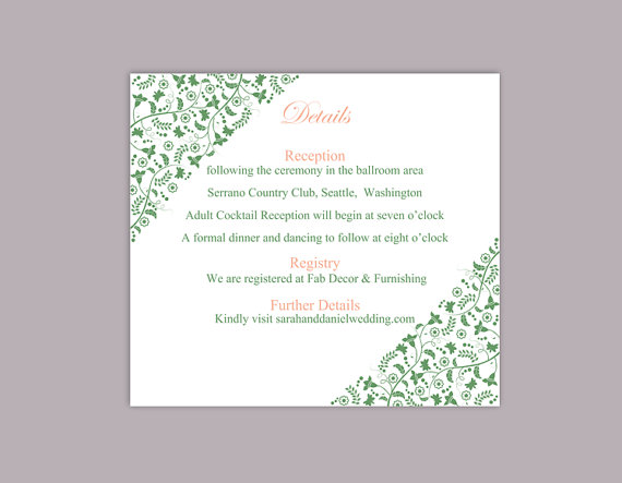 Mariage - DIY Wedding Details Card Template Editable Word File Instant Download Printable Details Card Green Details Card Elegant Information Cards