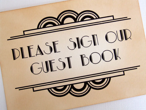 Wedding - Gatsby Guest Book Sign, Art Deco Please Sign Our Guest Book Sign, Great Gatsby Sign, 1920s Sign, Old Hollywood Glamour, Matching Items