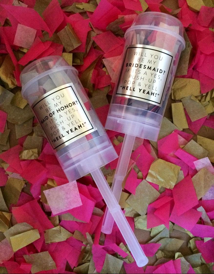 Mariage - Will You Be My.... Maid of Honor, Bridesmaid, Jr. Bridesmaid Flower Girl, etc. Gold or Silver and Pink Confetti Poppers