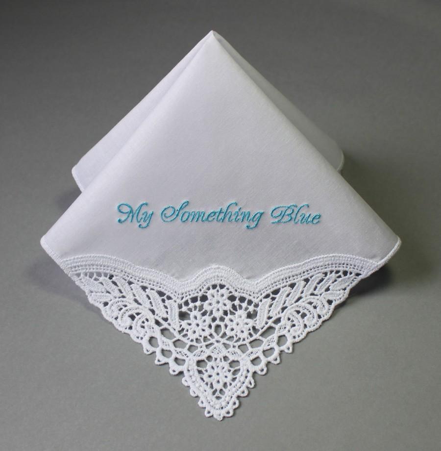something blue personalized wedding handkerchief mfp
