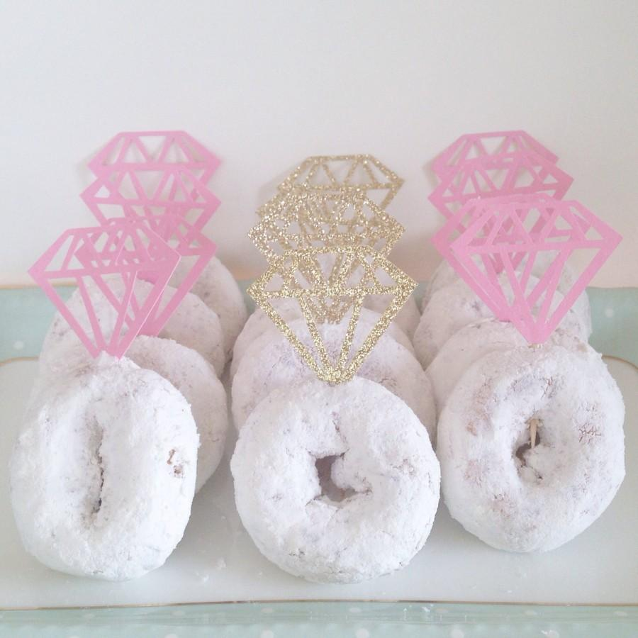 Свадьба - Diamond cupcake or Donut toppers! 12 per Order. Perfect for a Bridal shower, Bachelorette party, or Engagement party!