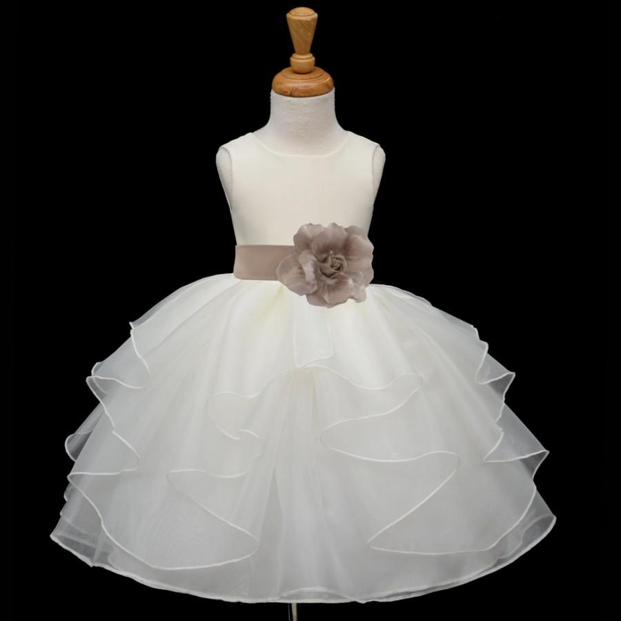 Ivory orange yellow recital flower girl dress organza for Ivory wedding dress sash