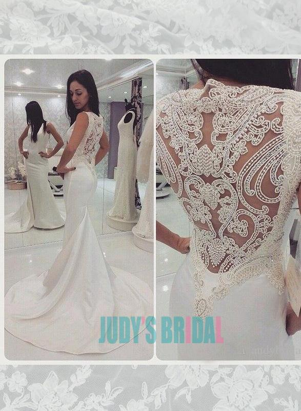 4745f205f Simple bateau neck illusion beading embroidery back sheath wedding dress