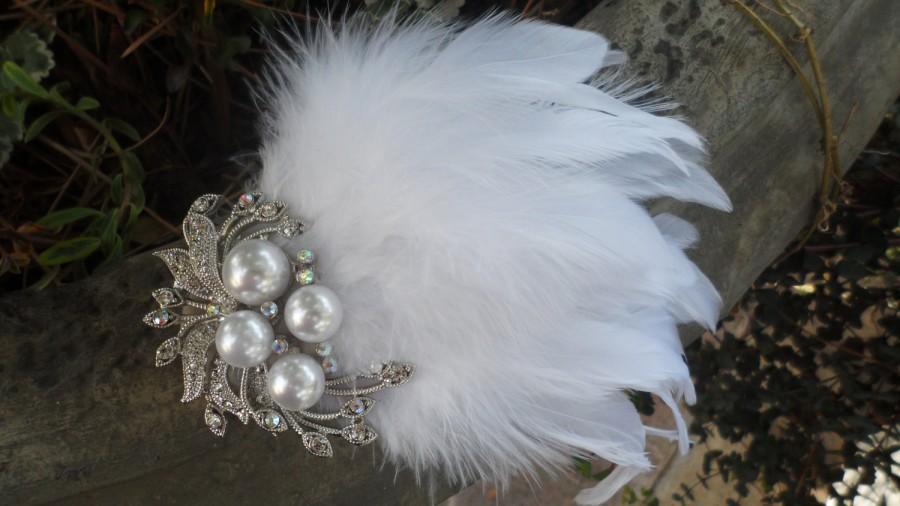 Mariage - Feather Fascinator, Wedding Hair Piece