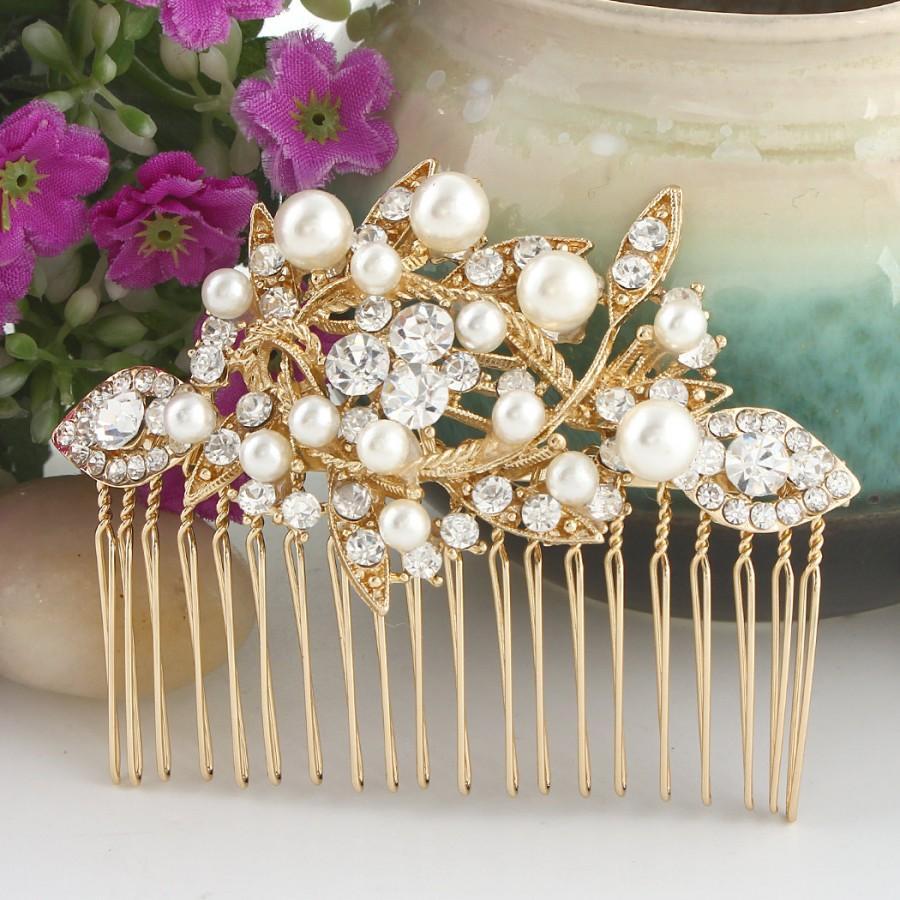 Свадьба - Wedding Hair Comb,Flower Hair Comb,Pearl Hair Comb,White Pearl Gold Wedding Hair Piece,Bridal Wedding Jewelry,Bridal Accessories Style-10378