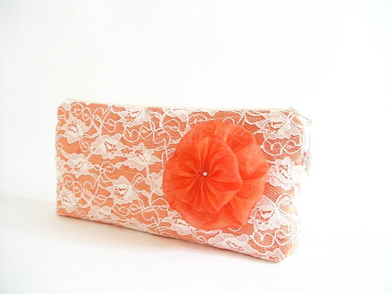 Mariage - Coral Lace Clutch, Wedding Hawaii Clutch, Bridal Bag with Coral Flower Brooch, Satin Lace Purse, Destination Wedding Gift