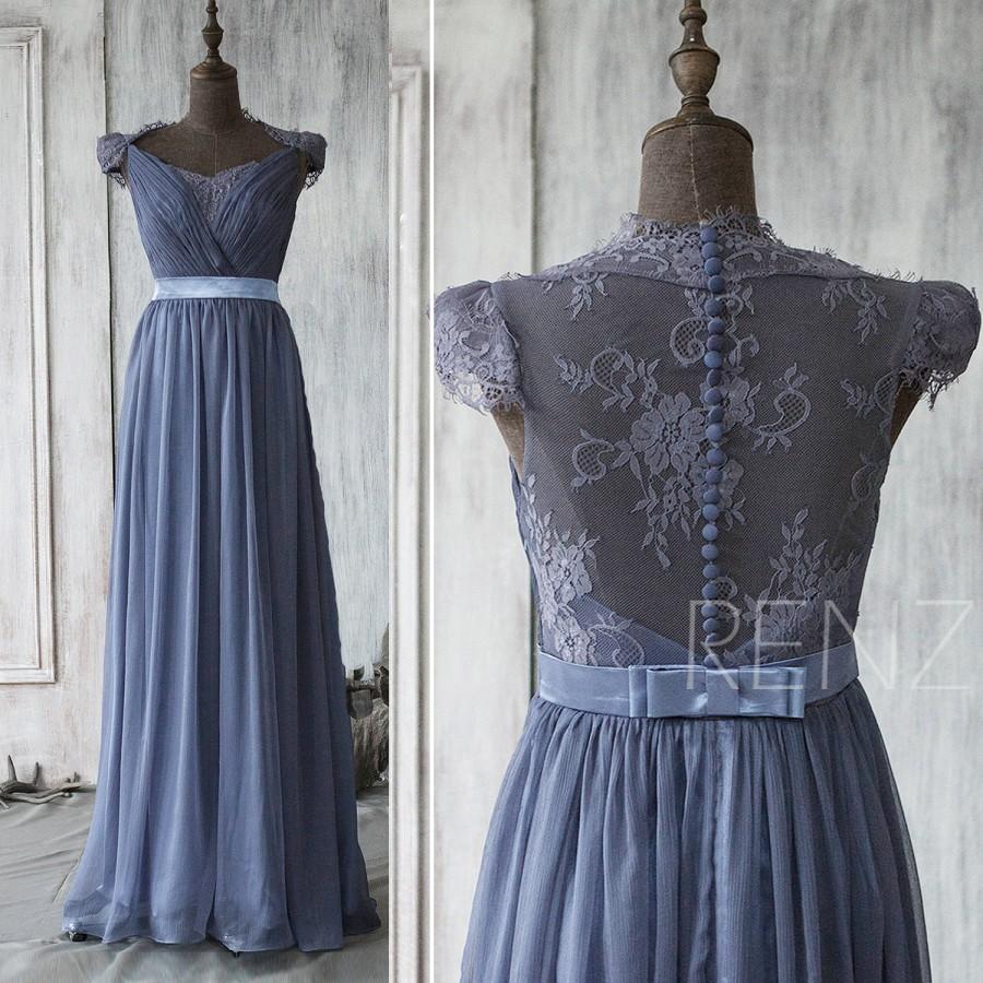 2015 Steel Blue Bridesmaid Dress Cap Sleeve Lace Wedding
