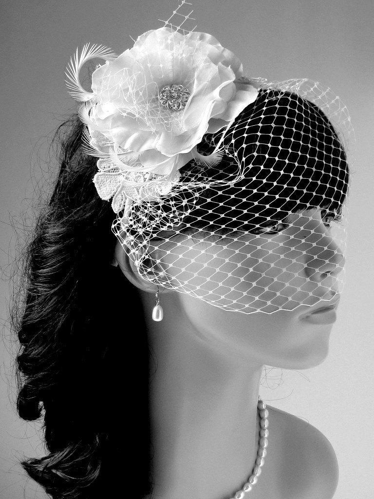 Wedding - Bridal birdcage veil, wedding hair accessories Bridal birdcage veil, Wedding Fascinator, wedding head piece, Ivory Bridal headpiece
