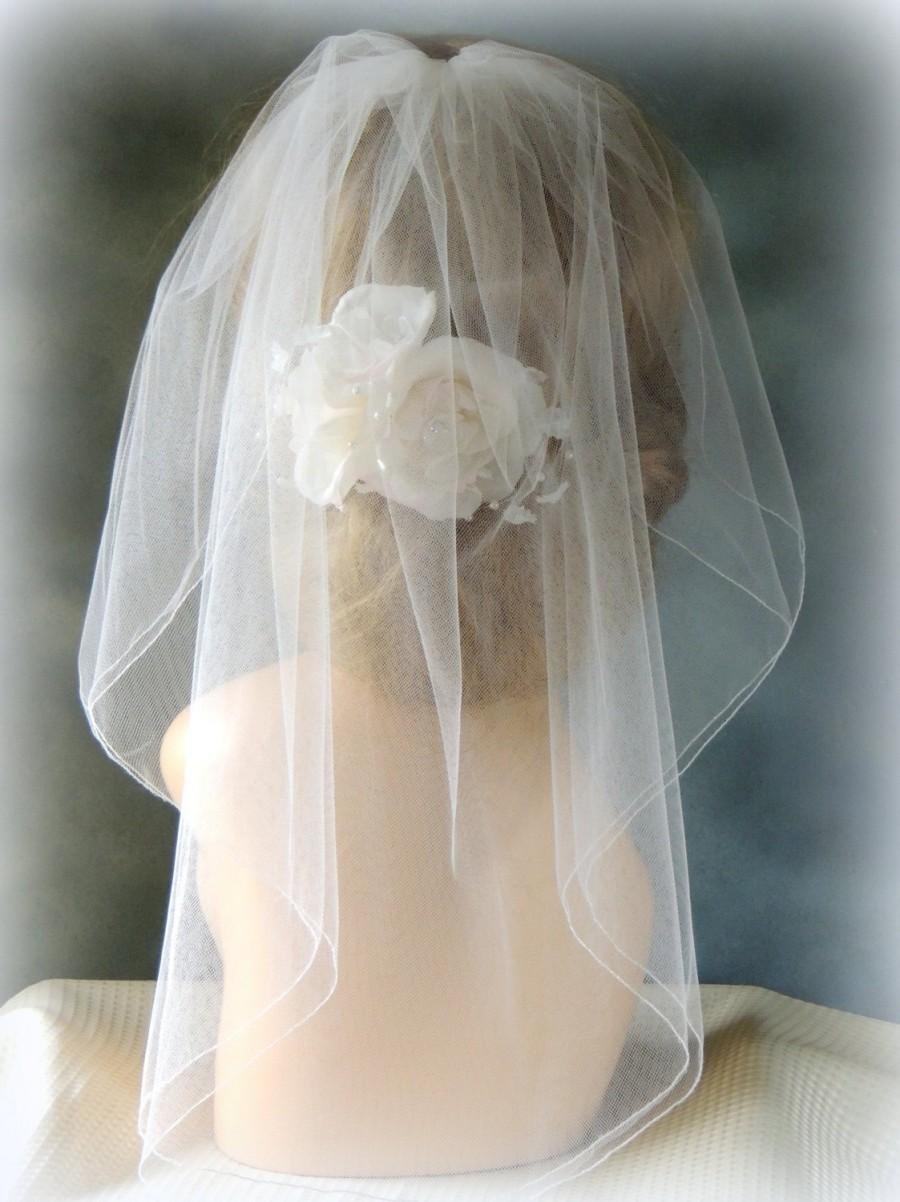 Wedding - Bridal Veil Double Layer, Illusion Tulle Bridal Veil 21'' Wedding Veil with Blusher