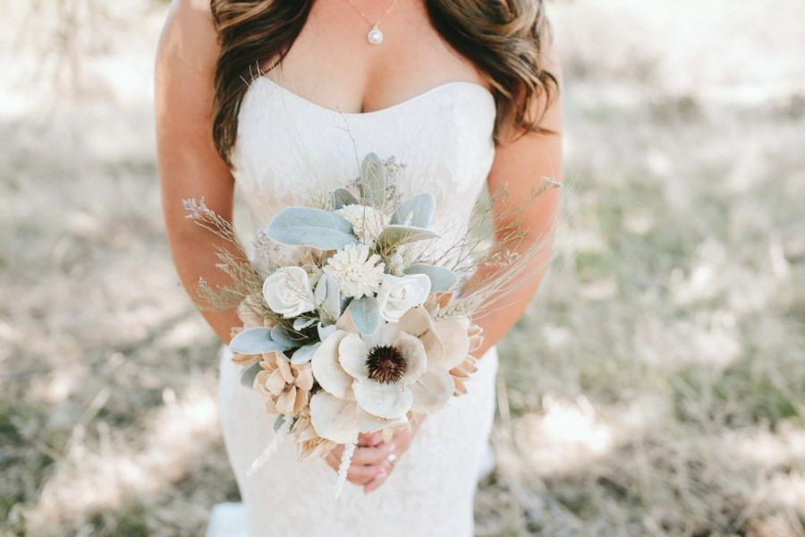 Hochzeit - Rustic Dried Bridal Bouquet with Sola Flowers, mixed dried flowers and wheat sprigs