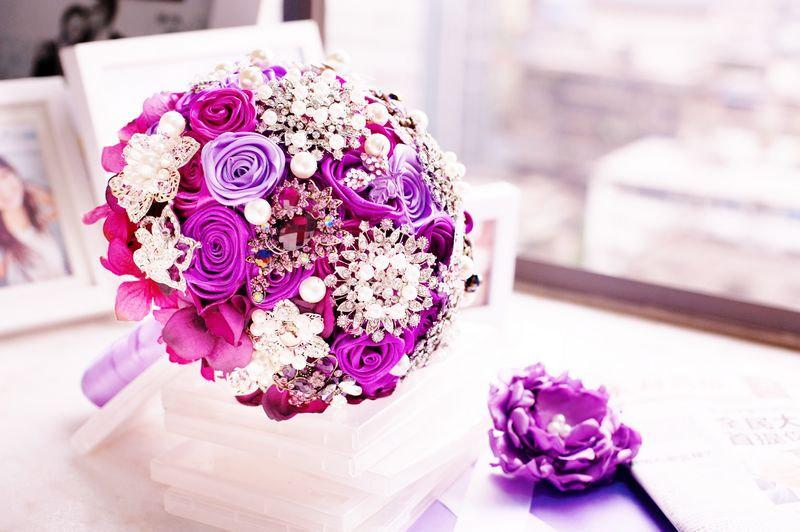 Purple Wedding Bouquet, , Bridal Bouquet, Jeweled Bouquet, Brooch ...