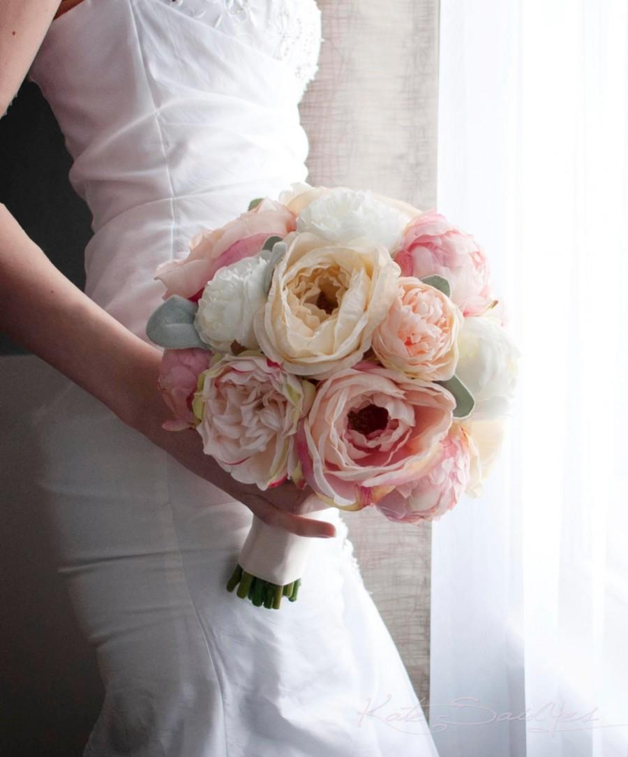 Hochzeit - Peach Ivory and Blush Peony and Garden Rose Wedding Bouquet with Lamb's Ear