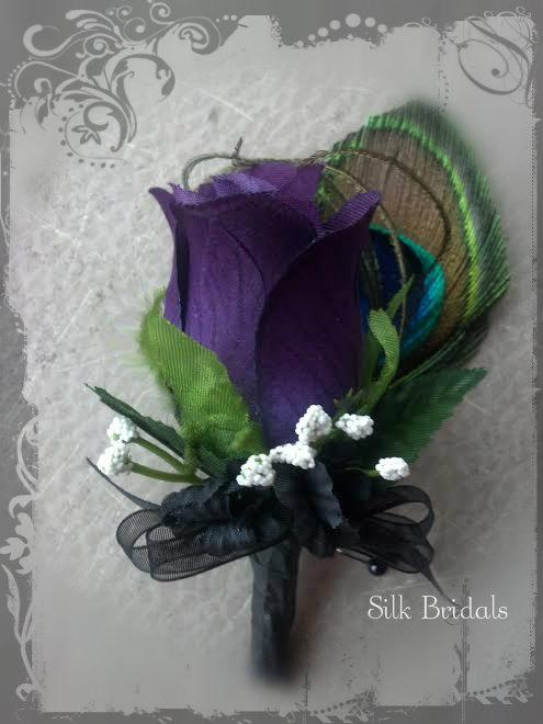 Wedding Flower Ideas For Groomsmen : Purple plum peacock feather boutonniere rose groom