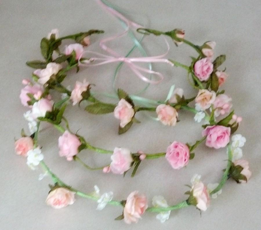 Свадьба - Flower girl halo pink Bridal Floral Crown Hair Wreath Mint Green headwreath wedding accessories headpiece bridesmaid hair garland circlet