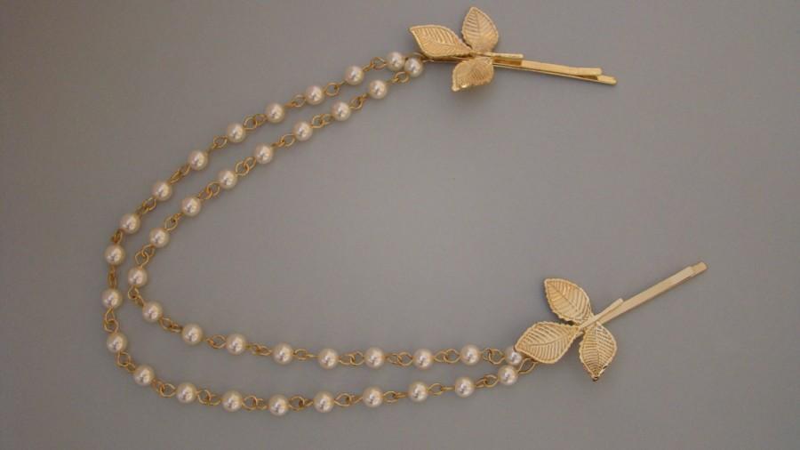 Mariage - Gold Leaf Headpiece - Gold Leaf Hair Piece - Gold Headpiece - Gold Hair Chain - Gold Head Chain - PERLA