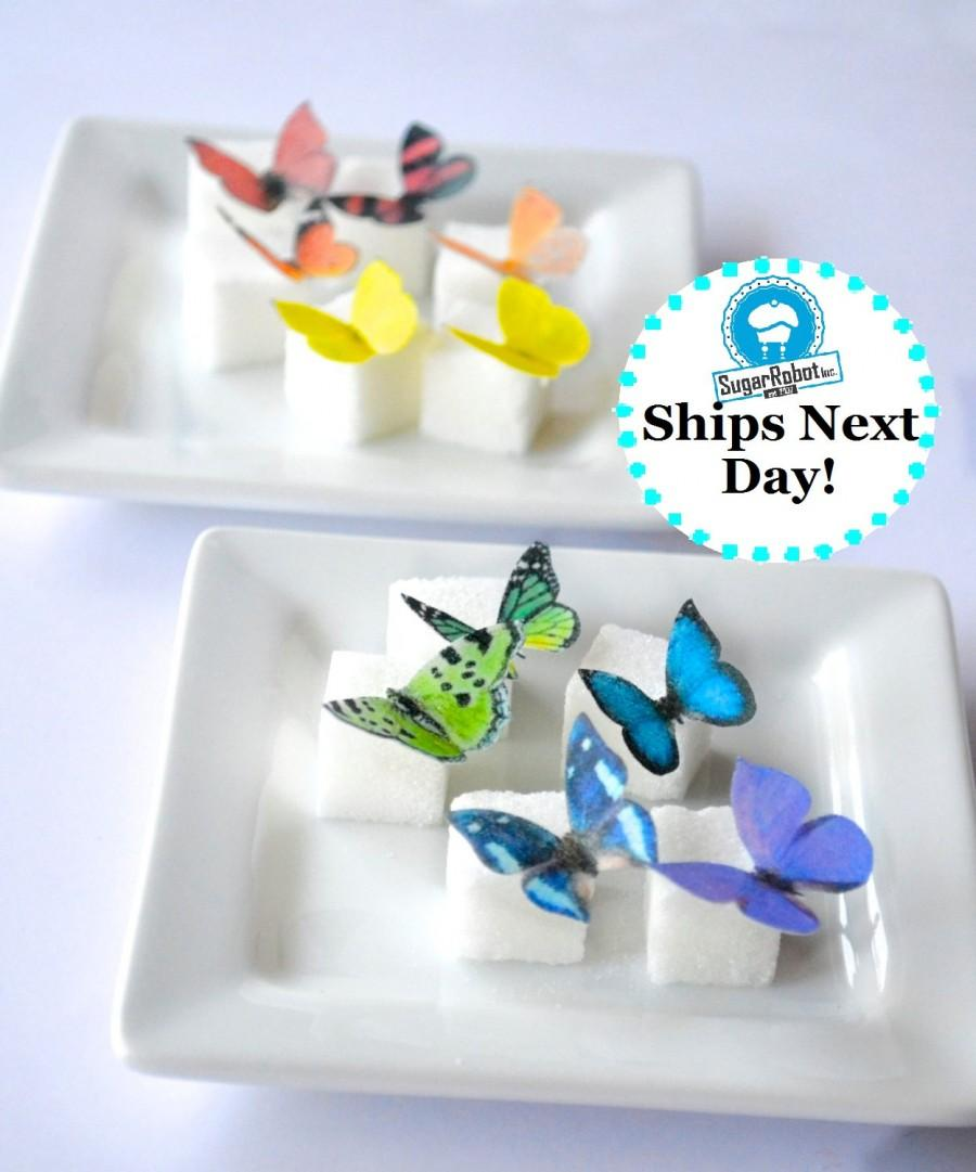 Mariage - Wedding Cake Topper Itsy Bitsy Mini Edible Butterflies - Rainbow Assortment set of 48 - for Cake Decorating and Cupcake Toppers