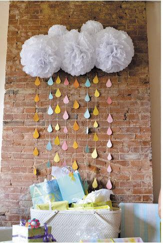 Свадьба - Beth Collection- 5 White Pom Poms and Rain Drop Garland