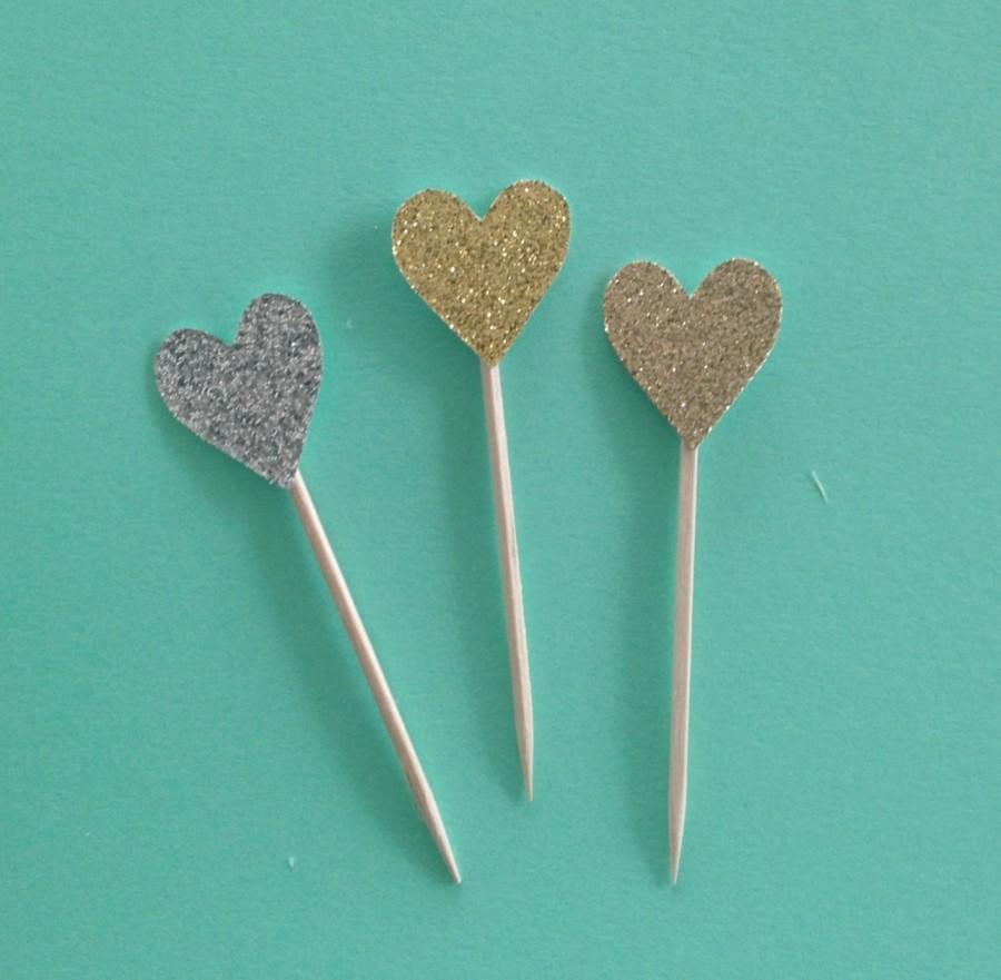 Wedding - Heart cupcake toppers -Glitter! (12 per order) Choose from gold glitter, rose gold glitter, or silver glitter