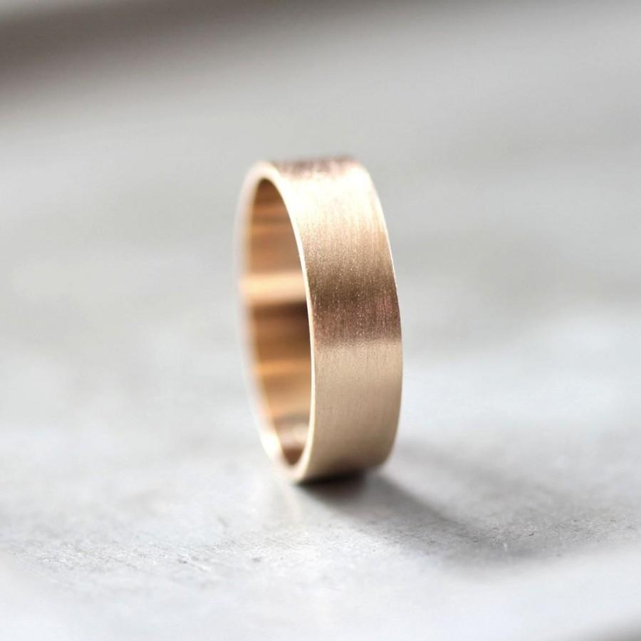 Свадьба - Men's Gold Wedding Band, 6mm Wide Brushed Flat 10k Recycled Yellow Gold Men's Wedding Ring Gold Ring -  Made in Your Size
