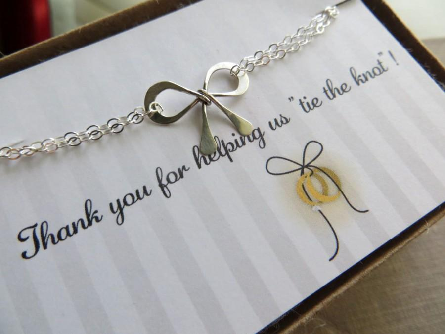 The Knot Wedding Gifts: Bridesmaid Gift Set Of 4, Bow Bracelets, Sterling Silver