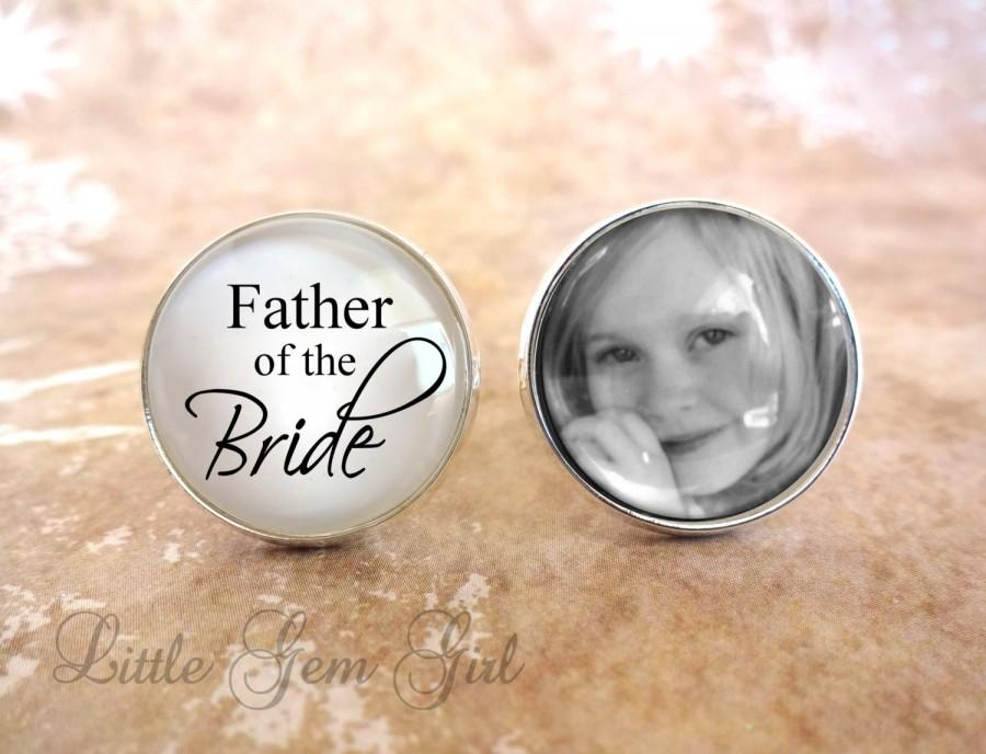 Wedding Gift For Father Of Bride : of the Bride Cuff Links Silver Photo Cuff Links Gifts for Dad Wedding ...