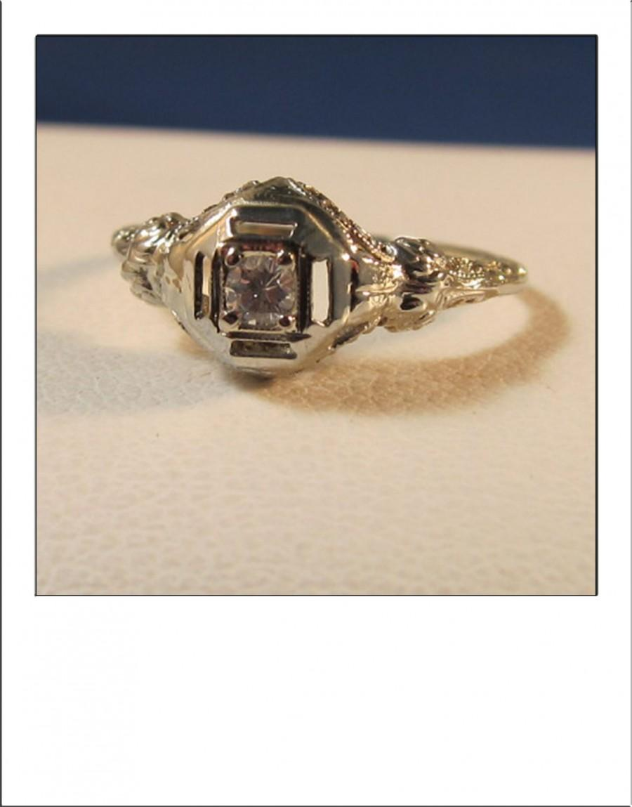 Antique Art Deco 18k Diamond Filigree Engagement Ring Weddbook