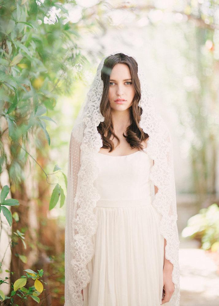 Wedding - Swiss Dot Mantilla veil, swiss dot veil, polka dot veil, mantilla veil, chapel veil, cathedral veil, ivory veil, beaded veil, adorned veil