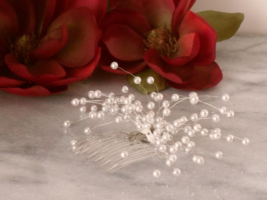 Hochzeit - White Pearl Beaded Spray Baby's Breath Bridal Bride Bridesmaid Hair Comb Hair Accessories Flower girl Handmade