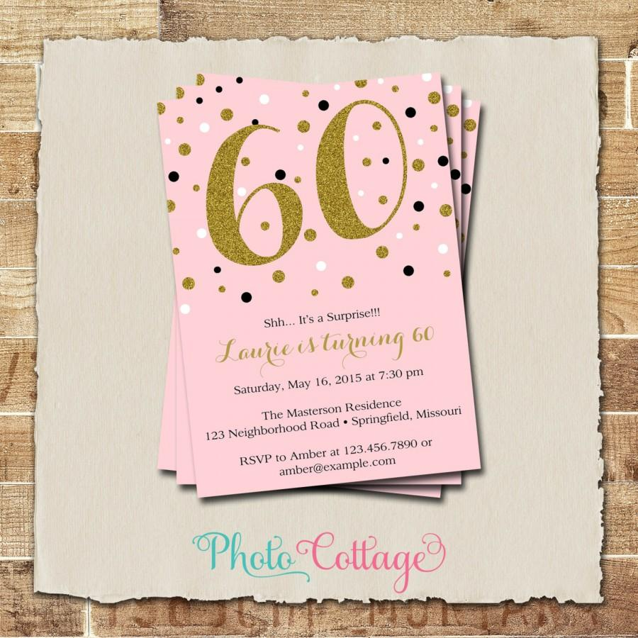 60th Birthday Invitation Gold Glitter Adult Invitations Party Pink BP102