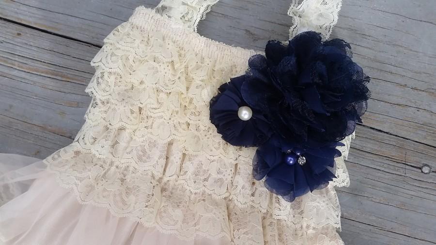 Boda - Navy Blue Flower Girl  Dress-Shabby Chic Flower Girl Dress-Ivory Flower Girl Dress-Navy Blue Wedding-Ivory Lace Dress-Rustic Chic