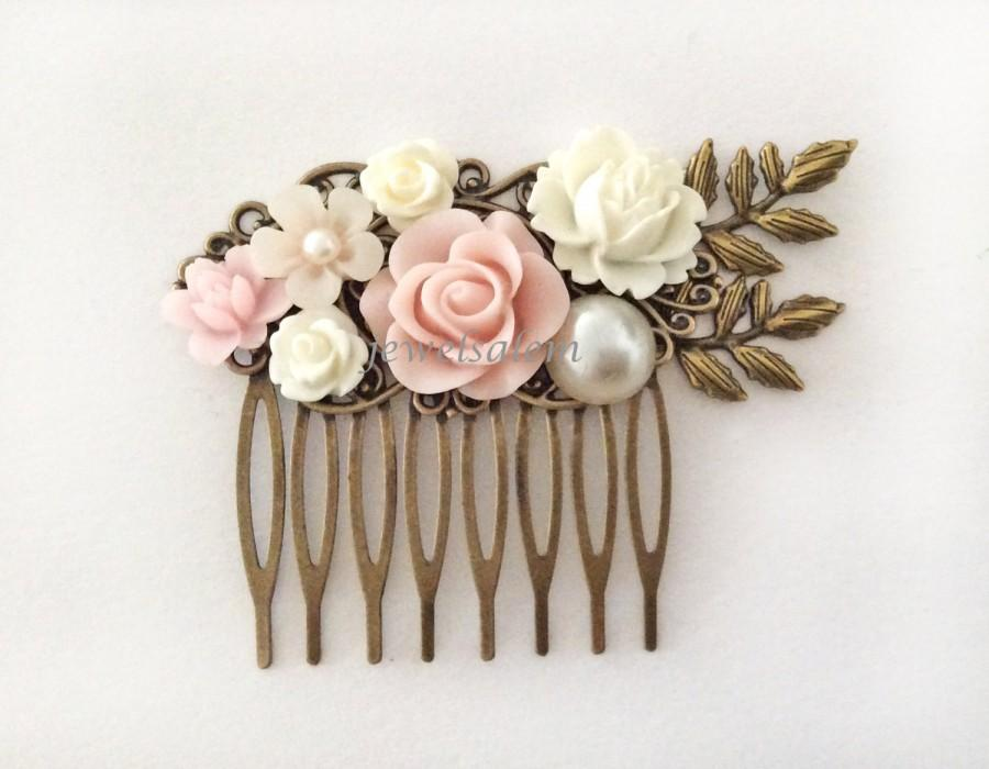 Hochzeit - Blush Pink Hair Comb Romantic Wedding Hair Accessory Soft Pink Bridal Head Piece Pastel Pink White Flower Hair Pin Pale Pink Floral Slide PM