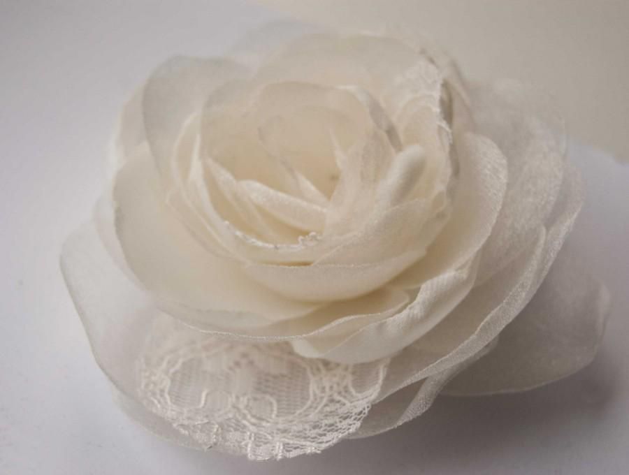 Hochzeit - Ivory bridal flower hair clip and brooch - Rose flower - Bridal hair piece ivory or white - Flower hair piece
