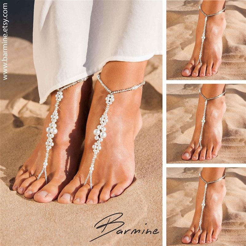 Matching Set Of Bridal Party Barefoot SandalsBridal Jewelry