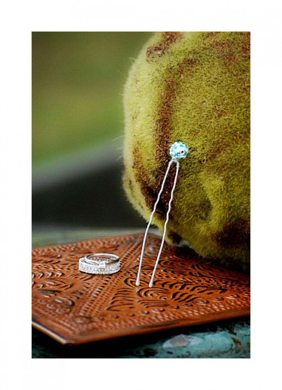 "Hochzeit - Something Blue Rhinestone 3"" U Hair Pin. Couture Bridal Beaded Gift Sophisticated, Bride Bridesmaid Trendy Wedding, Silver Golden Black Fork"
