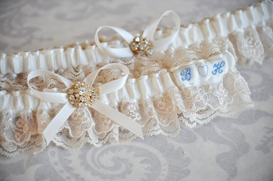 Bridal Garter Set Something Blue Champagne And Ivory Vintage Style Garters With Custom Initials Lace