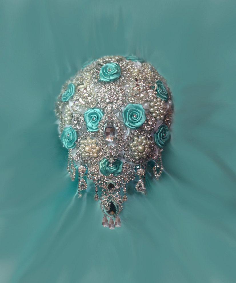 Свадьба - Aqua Blue Brooch Bouquet, Cascading Brooch Bouquet, Bridal Bouquet, Wedding Bouquet, Deposit  - Full Price 375.00