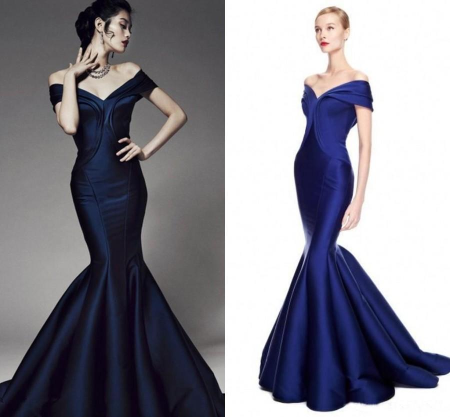 Dark Blue Prom Dresses Mermaid Style 2016 New Arrival Taffeta V Neck ...